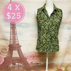 White stag floral sleeveless top shirt